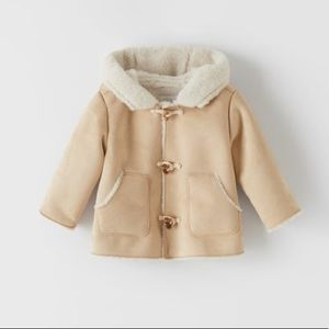 NWT Zara 3-6m soft hooded coat with toggles